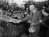 President Dwight and Mamie Eisenhower Greeting Citizens on During the Annual Easter Egg Roll Photo