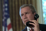 President George W. Bush on Telephone to Ny Gov. George Pataki and Nyc Mayor, Rudolph Giuliani Photo
