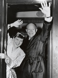 Republican Presidential Candidate Dwight Eisenhower and Wife Mamie Wave from their Campaign Train Photo