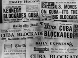Headline of Britain's Daily Newspapers Announcing President Kennedy's Blockade of Cuba Photo