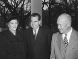 President Dwight Eisenhower with Richard and Pat Nixon after their Return from East Asia Photo