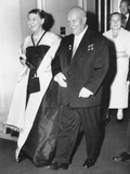 Soviet Premier Nikita Khrushchev Escorts Mamie Eisenhower into Dinner at the Soviet Embassy Photo