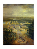 Gardens of Grand Trianon in Versailles. Child King Louis XV on Horseback Giclee Print by Pierre Denis Martin