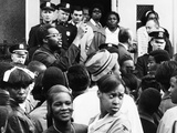 Radical Teacher Leslie Campbell (Jitu Weusi) and Demonstrators Stood on the Front Steps of Jhs 271 Photo