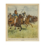 Napoleonic Wars, Joachim Murat Charging at the Head of His Cavalry Giclee Print by Louis Bombled