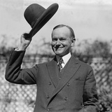 President Calvin Coolidge Waves a Hat Presented to Him by Smoki People of Prescott, Arizona Photo