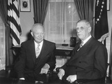 President Eisenhower Meeting with French President Charles Degaulle in the Oval Office Photo