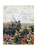 Battle of Denain, Dragoons Remove a Redoubt with Bayonets Giclee Print by Maurice Leloir