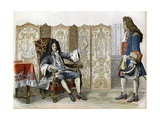 Villars Visiting Louis XIV at Chateau De Marly Giclee Print by Maurice Leloir
