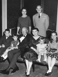 Christmas Portrait of President Dwight and Mamie Eisenhower with their Four Grandchildren Photo