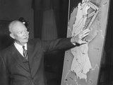 President Eisenhower with a Map of Berlin He Used in His Broadcast Speech to the Nation Photo