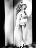 Betty Compson, Modeling a Pale Green Evening Gown and Velvet Wrap, Trimmed with Fur, 1935 Photo