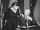 First Lady Mamie Eisenhower Talks with the President before His Radio-Tv Address of Feb Photo