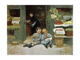 Children Have Afternoon Snack at Grocery Store Giclee Print by Victor Gabriel Gilbert