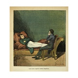Count of La Cases Looks at Exiled Emperor Napoleon Sleeping. Longwood, St. Helena Giclee Print by Louis Bombled