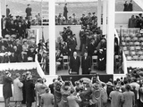 President Eisenhower and Vp Nixon Together on the White House Inaugural Parade Pavilion Photo