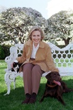 First Lady Hillary Rodham Clinton with Socks the Cat and Buddy the Dog on the White House Lawn Photo