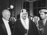 President Eisenhower with Saudi Arabia King, Saud Ibn Abd Al-Aziz Al-Saud and His Interpreter Photo