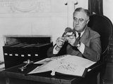 President Franklin Roosevelt after His 1936 Re-Election, with His Stamp Collection Photo
