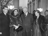 Shah of Iran and Queen Soraya are Welcomed to the White House by President and Mamie Eisenhower Photo