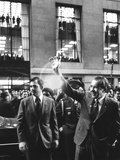 President Richard Nixon Waves to Crowd on Broad Street in the Financial District of Nyc Photo