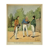 British Captain Introduces a Lieutenant to Exiled Emperor Napoleon on St. Helena Giclee Print by Louis Bombled