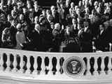 President John Kennedy Takes the Oath of Office Administered by Chief Justice Earl Warren Photo