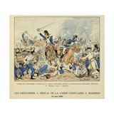 Charge of French Horse Grenadiers Against the Hungarians in Marengo June 14,1800 Giclee Print by Louis Bombled