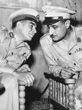 Egypt's Strongman Premier Muhammad Naguib Talking with Lieut. Col. Gamal Abdel Nasser Photographie