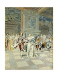Duke of Buckingham at Court of France Drops Pearls at Courtiers' Feet Giclee Print by Maurice Leloir