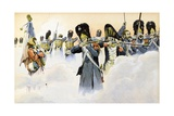 The Last French Square at Battle of Waterloo Giclee Print by Jacques de Breville