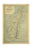 Madagascar War 1885-95, Map of Madagascar Giclée-tryk af Louis Bombled