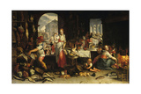 Kitchen Scene with the Parable of the Feast Giclee Print by Joachim Wtewael