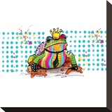 King Frog Stretched Canvas Print by Lucy Cloud