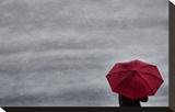 Schwartz - Little Red Umbrella Stretched Canvas Print by Don Schwartz