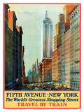 Fifth Avenue, New York, USA - The World's Greatest Shopping Street - Travel by Train Prints by  Pacifica Island Art
