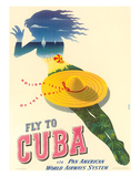 Fly to Cuba - Pan American World Airways System (PAA) - Holiday Isles of the Tropics Wydruk giclee autor Julius Seyler