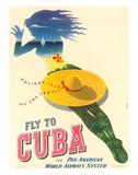 Fly to Cuba - Pan American World Airways System (PAA) - Holiday Isles of the Tropics Gicléetryck av Julius Seyler