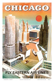 Chicago, USA - Marina City, Chicago River - Fly Eastern Airlines Konst av  Pacifica Island Art