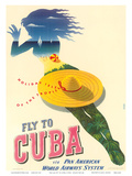 Fly to Cuba - Pan American World Airways System (PAA) - Holiday Isles of the Tropics Reprodukcje autor Julius Seyler