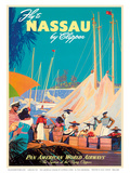 Fly to Nassau by Clipper - New Providence Island, The Bahamas - Pan American World Airways (PAA) Art by M. Von Arenburg