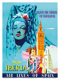 Enjoy the Charm of Andalusia, Spain - Spanish Senorita - Iberia Air Lines of Spain Prints by  Pacifica Island Art