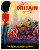 Fly To Britain By Clipper - Pan American World Airways (PAA) - British Royal Procession Giclée-Druck von M. Von Arenburg