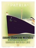 Europe to South America West Coast - Express Service - Hamburg-American Line Prints by Ottomar Anton