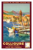 Collioure, France - Eastern Pyrenees - Railways Paris-Orleans-Midi Print by E. Paul Champseix