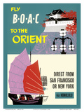 Fly BOAC to the Orient - Direct from San Francisco or New York via Honolulu Poster by  Pacifica Island Art