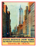 Fifth Avenue, New York, USA - The World's Greatest Shopping Street - Travel by Train Giclée-tryk af Pacifica Island Art