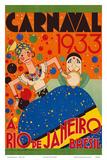 Carnaval (Carnival) 1933 - A Rio de Janeiro, Bresil (Brazil) Affiches par  Renato