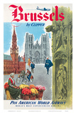Brussels, Belgium by Clipper - Pan American World Airways (PAA) Prints by  Pacifica Island Art