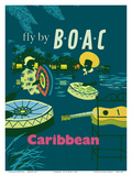 Caribbean - Caribbean Steel Drummers - Fly There by BOAC Print by  Dick Negus and Philip Sharland